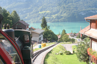 Steam train leaving Brienz