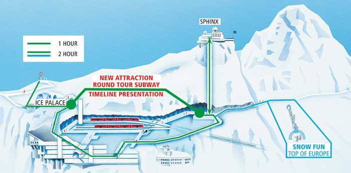 Round-tour subway on the Jungfraujoch will link the Sphinx hall